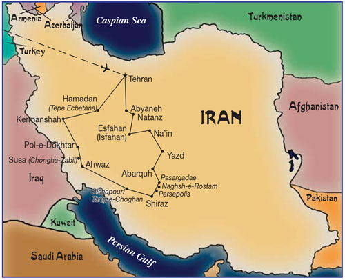 Iran - Map routes to compare all our Iran tours